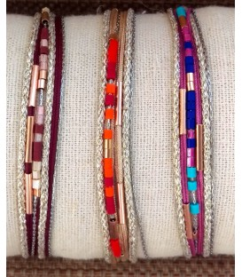 Bracelet multitours chaîne-fil-perles
