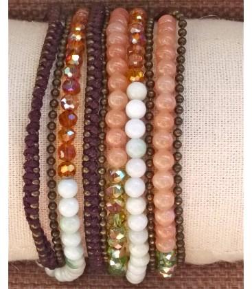 Bracelet multitours fil-perle