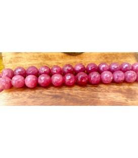 Sautoir en agate rose foncé