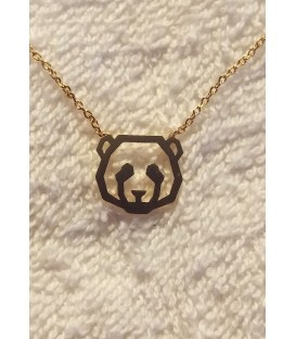 collier panda en laiton doré