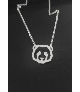 collier panda en laiton argenté