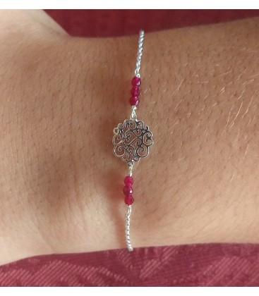 Bracelet petit arabesque et perles bordeaux