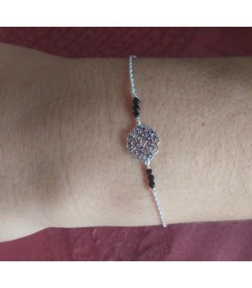 Bracelet petite arabesque et perles noires