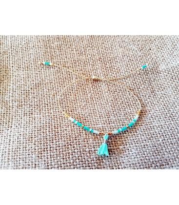Bracelet petites perles vertes-fleur