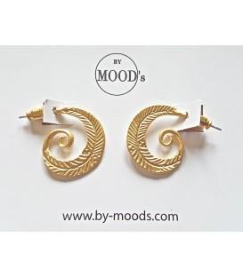 Boucles d'oreilles spirale-plume